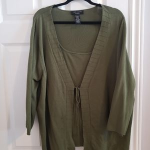 Olive green 2in1 cardigan sweater, 3x